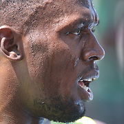 Usain Bolt, Jamaica, after his win in the Men's 200m during the Diamond League Adidas Grand Prix at Icahn Stadium, Randall's Island, Manhattan, New York, USA. 13th June 2015. Photo Tim Clayton