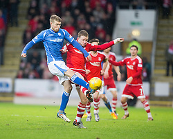 St Johnstone&rsquo;s David Wotherspoon and Aberdeen&rsquo;s Johnny Hayes. <br /> St Johnstone 3 v 4Aberdeen, SPFL Ladbrokes Premiership played 6/2/2016 at McDiarmid Park, Perth.