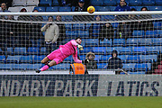 Forest Green Rovers goalkeeper James Montgomery makes a save during the EFL Sky Bet League 2 match between Oldham Athletic and Forest Green Rovers at Boundary Park, Oldham, England on 12 January 2019.