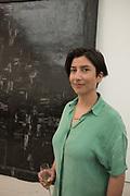 ALEJANDRA PRIETO IN FRONT OF HER WORK,  Art as Black mirror, Saatchi Gallery, . 27 September 2018