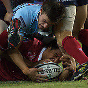 Rob Horne challenges for the ball during the Super14 match between the New South Wales Waratahs and Queensland Reds at the Sydney Football Stadium, Sydney, Australia on March 6, 2009. The Waratah's won the match 15-11. Photo by Tim Clayton.