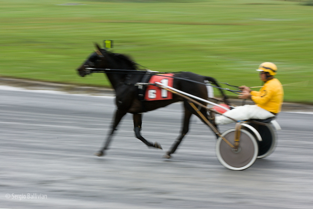Horses and jockeys participate in harness racing during a rainy day in Monticello, New York.
