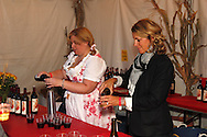 Pouring out complimentary wine samples during the Preview Party for the 41st annual Oktoberfest at the Dayton Art Institute, Friday, September 21, 2012.