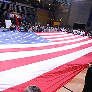 The 87ers unfurled an oversized American flag for the National Anthem prior a NBA D-league regular season basketball game between the Delaware 87ers and the Erie BayHawk (Orlando Magic) Friday, Mar. 27, 2015 at The Bob Carpenter Sports Convocation Center in Newark, DEL.