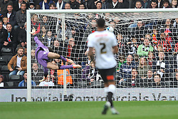 Wolves Keeper Emiliano Martinez cant keep out Derbys First goal by Chris Martin, Derby County v Wolves, Ipro Stadium, Sky Bet Championship, Sunday 18th October 2015 (Score Derby 4, Wolves, 1)