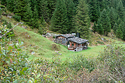 Wooden remote farmhouse in Stubai Alps, Tyrol, Austria
