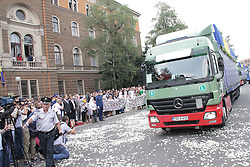 60081950 <br /> A convoy, carrying remains of 409 recently identified victims in the Srebrenica Massacre, passes by in front of the Presidential building in Sarajevo, Bosnia and Herzegovina, July 9, 2013. More than 8,000 Bosnian Muslim men and boys were massacred in Srebrenica in July, 1995 by Bosnian Serb forces and a paramilitary unit from Serbia, picture taken July 9, 2013.<br /> Photo by imago / i-Images