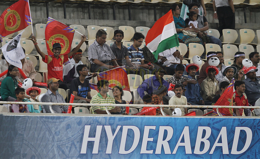 RCB supporters during match 11 of the Indian Premier League ( IPL ) between the Deccan Chargers and the Royal Challengers Bangalore held at the Rajiv Gandhi International Cricket Stadium in Hyderabad on the 14th April 2011..Photo by Prashant Bhoot/BCCI/SPORTZPICS.