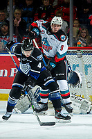 KELOWNA, BC - JANUARY 3:  Will Warm #4 of the Victoria Royals tries to block a pass to Mark Liwiski #9 of the Kelowna Rockets during second period at Prospera Place on January 3, 2020 in Kelowna, Canada. (Photo by Marissa Baecker/Shoot the Breeze)