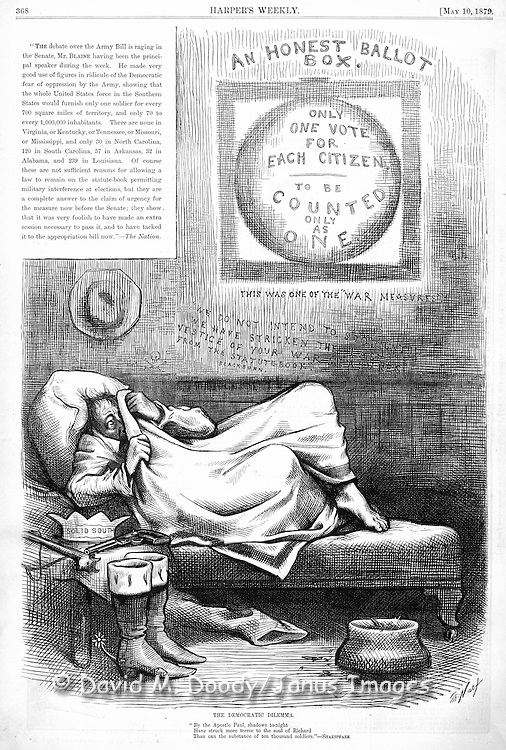 "Thomas Nast political  Cartoon on voting rights for blacks in the post Civil War South.  Politican hiding under the covers ""One vote for Each Citizen"" ""Solid South"" and the ""Army Bill""  Harper's Weekly 2, 1879  ."