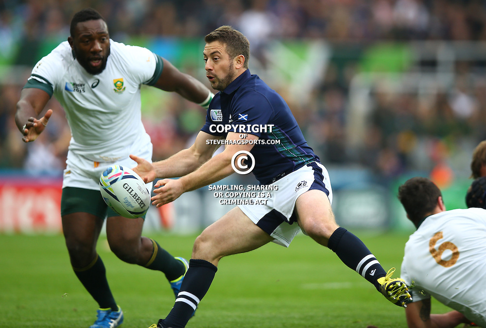 NEWCASTLE UPON TYNE, ENGLAND - OCTOBER 03: Greig Laidlaw (captain) of Scotland during the Rugby World Cup 2015 Pool B match between South Africa and Scotland at St James Park on October 03, 2015 in Newcastle upon Tyne, England. (Photo by Steve Haag/Gallo Images)