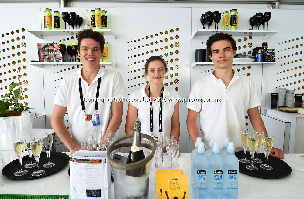 Treehouse staff on quarter finals day at the ASB Classic Tennis Men's tournament. ASB Tennis Centre, Stanley st, Auckland, New Zealand. Thursday 14 January 2016. Copyright Photo: Andrew Cornaga / www.photosport.nz