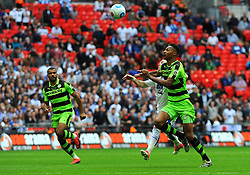 Ethan Pinnock of Forest Green Rovers competes with Cole Stockton of Tranmere Rovers - Mandatory by-line: Nizaam Jones/JMP - 14/05/2017 - FOOTBALL - Wembley Stadium- London, England - Forest Green Rovers v Tranmere Rovers - Vanarama National League Final