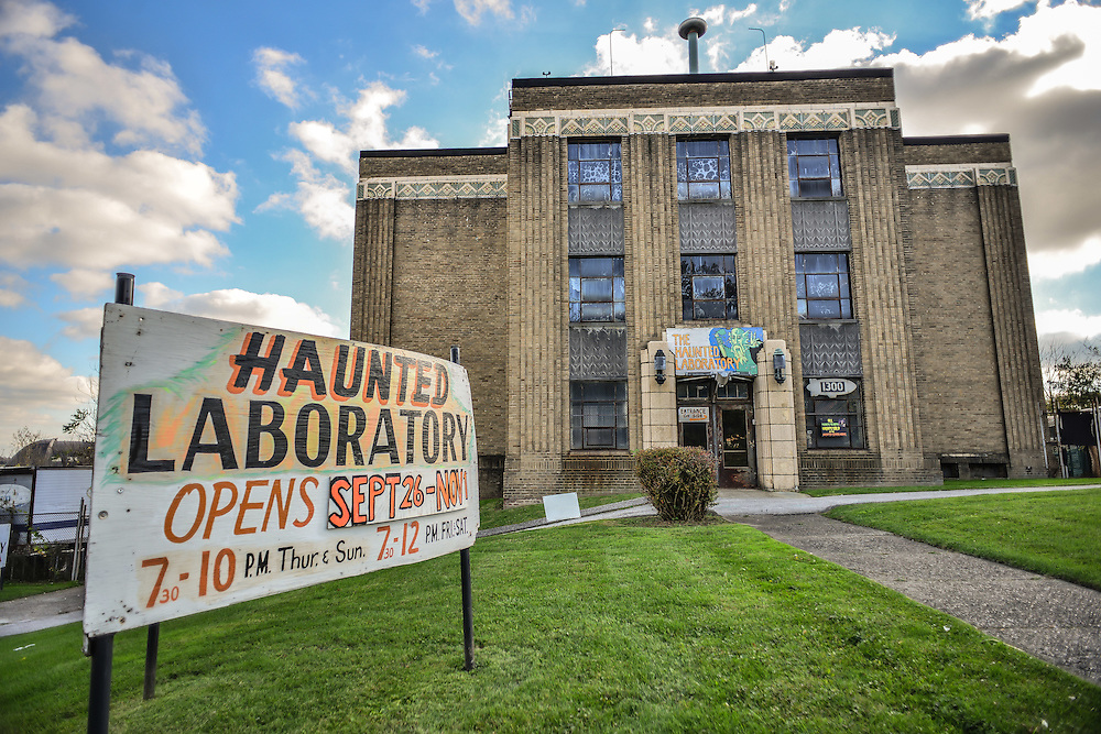 Entrance to the Haunted Laboratory during the Halloween season.