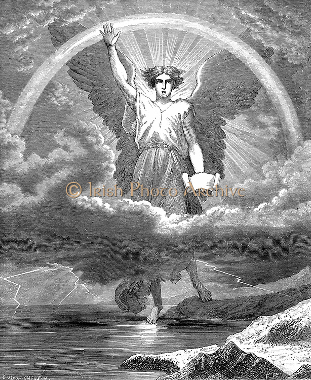 The Angel with the Book. 'Bible' Revelation 10:1-6. Wood engraving c1860