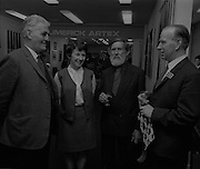 04/07/1969.07/04/1969.4th July 1969.Sean Keating at an exhibit of a representative selection of the exhibits in the RTE Regional Arts awards from Limerick  shown in the Tintawn showroom in South KIng Street, Dublin...Sean Keating.Sean Keating (1889-1977).Portrait and figure painter, John Keating was born in Limerick on 28th September 1889...Examples: Armagh: County Museum. Ballinasloe, Co. Galway: St Joseph's College. Beijing: Irish Embassy. Belfast: Dublin Institute for Advanced Studies; Passionist Retreat, The Graan. Galway: National University of Ireland. Glasgow: Art Gallery and Museum. Kilkenny: Art Gallery Society. Clongowes Wood College. Oldham, Lancs: Art Gallery and Museum. Rome: Irish College. Sligo: Model and Niland Centre. Tralee, Co. Kerry: St John's Church. Waterford: City Hall, Municipal Art Collection. Electricity Supply Board; Federated Workers' Union of Ireland; Hugh Lane Municipal Gallery of Modern Art; Institution of Engineers of Ireland; McKeeBarracks; Mansion House; National Gallery of Ireland; National Museum of Ireland; Office of Public Works; Pharmaceutical Society of Ireland; University College (Newman House; Earlsfort Terrace). Dundrum, Co. Dublin: Carmelite Fathers, Gort Muire. Enniskillen, Co. Fermanagh: Ulster Museum. Bray, Co. Wicklow: Letterkenny, Co. Donegal: St Eunan's Cathedral. Limerick: City Gallery of Art; County Library; University, National Self-Portrait Collection. Naas, Co. Kildare:  Public Library. Brussels: Mused Modeme. Cork: Collins Barracks; Crawford Municipal Art Gallery. Dublin: Aras an Uachtar~in; Church of Ireland See House, Temple Road, Milltown; Church of St Therese, Mount Merrrion; Church of the Holy Spirit, Ballyroan; Co. Dublin Vocational Education Committee;.Literature:  J. Crampton Walker, Irish Life and Landscape, Dublin 1927 (also illustration); Mary MacCarvill, Rhymer's Wake, London 1931 (illustration); Bulmer Hobson, ed., Saorsalt Eireann Official Handbook, Dublin 1932 (illustrations); Father Mathew Recor