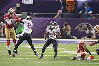 3 February 2013: Runningback (30) Bernard Pierce of the Baltimore Ravens runs the ball against the San Francisco 49ers during the first half of the Ravens 34-31 victory over the 49ers in Superbowl XLVII at the Mercedes-Benz Superdome in New Orleans, LA.