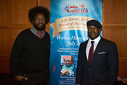 WaWa Welcome America announcement. Vista Top of the Tower, Philadelphia, PA USA - May 9, 2013; ..Amhir '?uestlove' Thompson and Tariq Trotter 'Black Thought' of the Roots at the 2013 Philly 4th of July Jam line up announcement.<br />