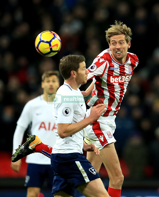 "Stoke City's Peter Crouch in action during the Premier League match at Wembley Stadium, London. PRESS ASSOCIATION Photo. Picture date: Saturday December 9, 2017. See PA story SOCCER Tottenham. Photo credit should read: Adam Davy/PA Wire. RESTRICTIONS: EDITORIAL USE ONLY No use with unauthorised audio, video, data, fixture lists, club/league logos or ""live"" services. Online in-match use limited to 75 images, no video emulation. No use in betting, games or single club/league/player publications."
