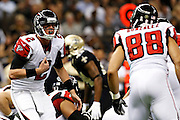 NEW ORLEANS, LA - NOVEMBER 11:  Matt Ryan #2 yells out a play to Tony Gonzalez #88 of the Atlanta Falcons during a game against the New Orleans Saints at Mercedes-Benz Superdome on November 11, 2012 in New Orleans, Louisiana.  The Saints defeated the Falcons 31-27.  (Photo by Wesley Hitt/Getty Images) *** Local Caption *** Matt Ryan