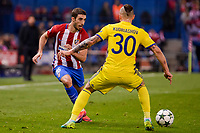 Atletico de Madrid's player Sime Vrsaljko and CF Rostov's player Fedor Kudryashov during a match of UEFA Champions League at Vicente Calderon Stadium in Madrid. November 01, Spain. 2016. (ALTERPHOTOS/BorjaB.Hojas)