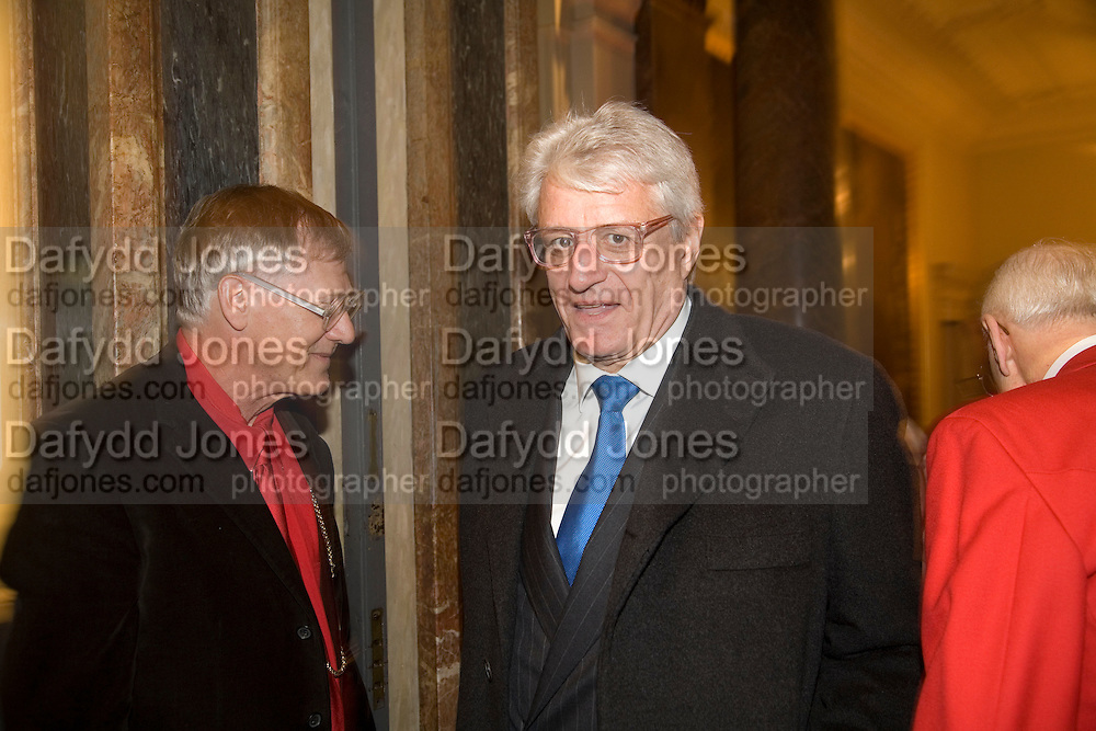 PRESIDENT OF THE ROYAL ACADEMY SIR NICHOLAS GRIMSHAW AND GERT FLICK. Opening of 'From Russia' Royal Academy of arts. Picadilly. London. 22 January 2008. -DO NOT ARCHIVE-© Copyright Photograph by Dafydd Jones. 248 Clapham Rd. London SW9 0PZ. Tel 0207 820 0771. www.dafjones.com.