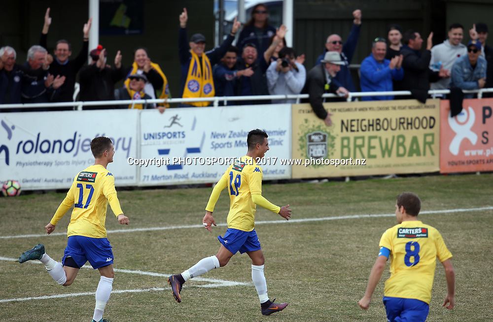 Central celebrate Nicolas Zambrano's goal. 2017 ISPS Handa Chatham Cup Semi Final, Central United v Bay Olympic, Kiwitea Street Auckland, Saturday 26th August 2017. Copyright Photo: Shane Wenzlick