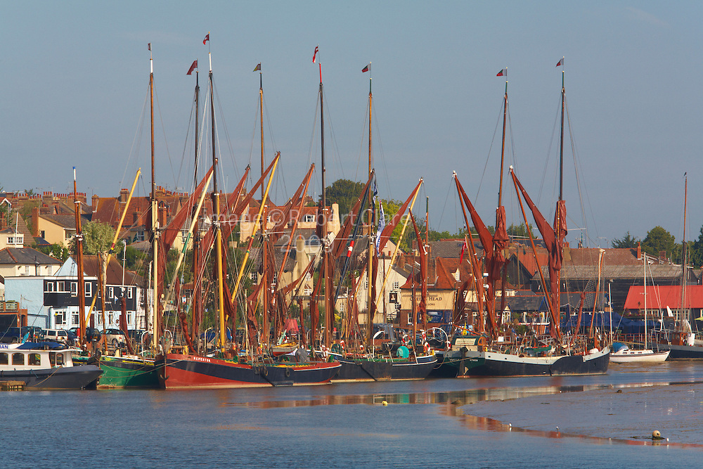 Great Britain England Essex Maldon River Blackwater Hythe Quay Traditional Thames Sailing Barges tied up at Quay