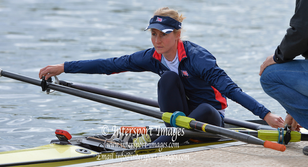 Reading. United Kingdom. GBR LW1X, Imogen WALSH,  2014 Senior GB Rowing Trails, Redgrave and Pinsent Rowing Lake. Caversham.<br /> <br /> 13:49:22  Saturday  19/04/2014<br /> <br />  [Mandatory Credit: Peter Spurrier/Intersport<br /> Images]