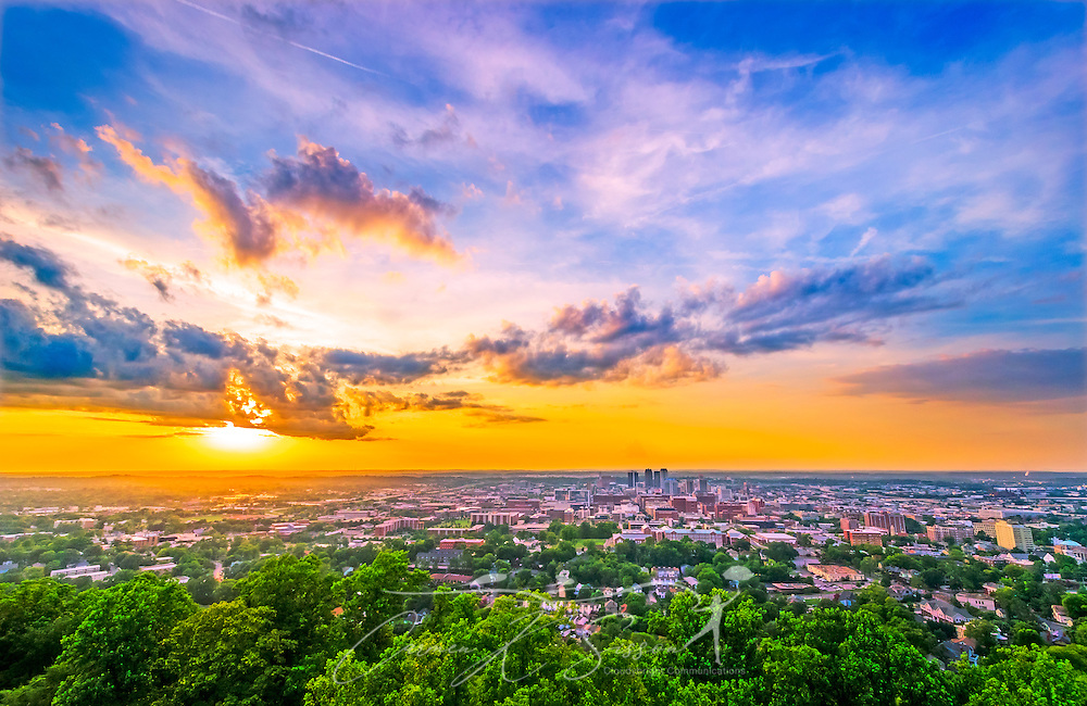 The sun sets at Vulcan Park, July 19, 2015, in Birmingham, Alabama. The park features an iron statue of the Roman God, Vulcan, with an observation deck that offers sweeping views of the city. (Photo by Carmen K. Sisson/Cloudybright)