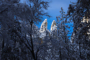 The Cathedral Spires  in winter, Yosemite National Park, California USA