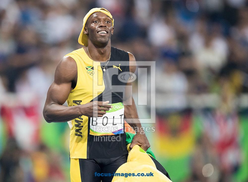 Usain Bolt of Jamaica retains his title and wins his third successive Gold Medal in the Men's 100m on day nine of the XXXI 2016 Olympic Summer Games in Rio de Janeiro, Brazil.<br /> Picture by EXPA Pictures/Focus Images Ltd 07814482222<br /> 14/08/2016<br /> *** UK &amp; IRELAND ONLY ***<br /> <br /> EXPA-GRO-160815-5428.jpg