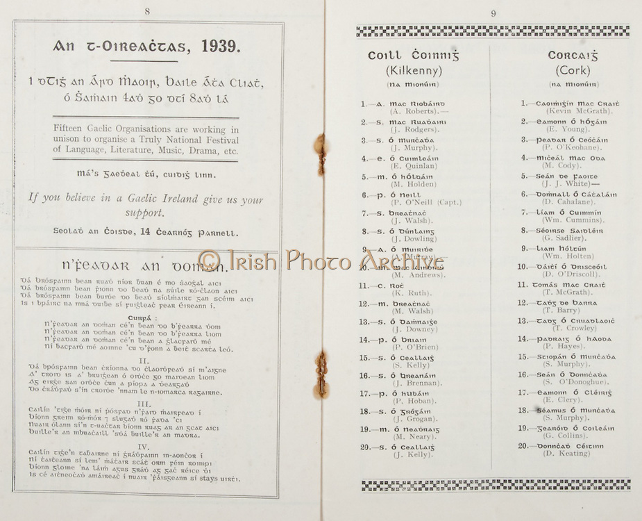 All Ireland Senior Hurling Championship Final, .Brochures,.03.09.1939, 09.03.1939, 3rd September 1939,.Kilkenny 2-7, Cork 3-3, .Minor Kilkenny v Cork,.Senior Kilkenny v Cork, .Croke Park, ..Advertisement, An T-Oireactas 1939, ..Song, N'Feadar An Doman, ..Kilkenny Minor Team, A. Roberts, J. Rodgers, J. Murphy, E. Quinlan, M. Holden, P. O'Neill, J. Walsh, J. Dowling, A. Murray, M. Andrews, K. Ruth, M. Walsh, J. Downey, P. O'Brien, S. Kelly, J. Brennan, P. Hoban, J. Grogan, M. Neary, J. Kelly, ..Cork Minor Team, Kevin McGrath, E. Young, P. O'Keohane, M. Cody, J. J. White, D. Cahalane, Wm. Cummins, G. Sadlier, Wm. Holten, D. O'Dricoll, T. McGrath, T. Barry, T. Crowley, P. Hayes, S. Murphy, S. O'Donoghue, E. Clery, S. Murphy, G. Collins, D. Keating,