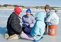 Belmont Middle School ice fishing day on Lily Pond in Gilford February 12,  2010.