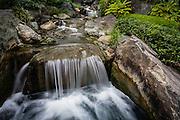 A stream runs through the garden at Senso-ji temple, Asakusa, Tokyo