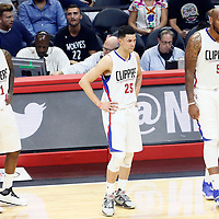 02 November 2016: Los Angeles Clippers guard Jamal Crawford (11), Los Angeles Clippers guard Austin Rivers (25) and Los Angeles Clippers center Marreese Speights (5) are seen during the Oklahoma City Thunder 85-83 victory over the Los Angeles Clippers, at the Staples Center, Los Angeles, California, USA.