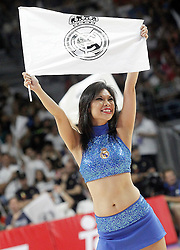 21.06.2015, Palacio de los Deportes, Madrid, ESP, Liga Endesa, Real Madrid vs Barcelona, Finale, 2. Spiel, im Bild Real Madrid's cheerleaders // during the second match of Liga Endesa final's between Real Madrid vs Barcelona at the Palacio de los Deportes in Madrid, Spain on 2015/06/21. EXPA Pictures © 2015, PhotoCredit: EXPA/ Alterphotos/ Acero<br /> <br /> *****ATTENTION - OUT of ESP, SUI*****