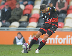 Dragons Gavin Henson<br /> <br /> Photographer Mike Jones/Replay Images<br /> <br /> European Rugby Challenge Cup Round 6 - Dragons v Bordeaux Begles - Saturday 20th January 2018 - Rodney Parade - Newport<br /> <br /> World Copyright © Replay Images . All rights reserved. info@replayimages.co.uk - http://replayimages.co.uk