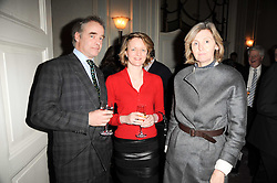 Left to right, EDDIE TENNANT, EMMA TENNANT and LADY SOPHIE TOPLEY at a party to celebrate Penguin's reissue of Nancy Mitford's 'Wigs on The Green' hosted by Tatler at Claridge's, Brook Street, London on 10th March 2010.