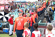 Eoin Morgan (Capt) leads out the England team during the International T20 match between South Africa and England at Supersport Park, Centurion, South Africa on 16 February 2020.
