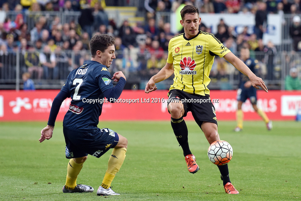 Alex Rodriguez of the Phoenix controls the ball from Storm Roux of the Mariners during the round 17 A-League match between the Wellington Phoenix and the Central Coast Mariners at AMI Stadium in Christchurch, New Zealand. 30 January 2016. Photo: Kai Schwoerer / www.photosport.nz