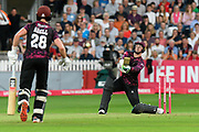 Eddie Byrom of Somerset holes out to A.B De Villiers of Middlesex during the Vitality T20 Blast South Group match between Somerset County Cricket Club and Middlesex County Cricket Club at the Cooper Associates County Ground, Taunton, United Kingdom on 30 August 2019.