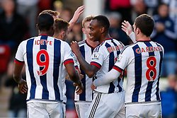 Saido Berahino of West Brom celebrates scoring a goal - Mandatory byline: Rogan Thomson/JMP - 07966 386802 - 28/07/2015 - SPORT - Football - Walsall, England - Besot Stadium - Walsall v West Bromwich Albion - 2015/16 Pre Season Friendly.