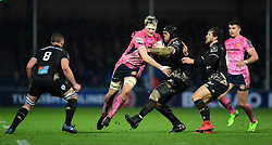 Jonny Hill of Exeter Chiefs breaks the line - Mandatory by-line: Alex Davidson/JMP - 13/01/2018 - RUGBY - Sandy Park Stadium - Exeter, England - Exeter Chiefs v Montpellier - European Rugby Champions Cup