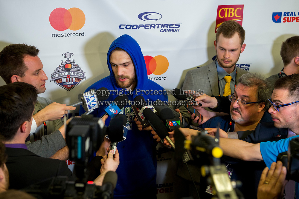REGINA, SK - MAY 21: Stuart Skinner #74 of Swift Current Broncos speaks to media at the end of the game against the Hamilton Bulldogs at the Brandt Centre on May 21, 2018 in Regina, Canada. (Photo by Marissa Baecker/CHL Images)