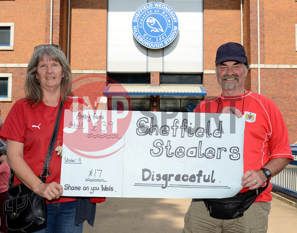 Bristol City fans protest about the price of tickets - Mandatory byline: Dougie Allward/JMP - 07966386802 - 08/08/2015 - FOOTBALL - Hillsborough Stadium -Sheffield,England - Sheffield Wednesday v Bristol City - Sky Bet Championship