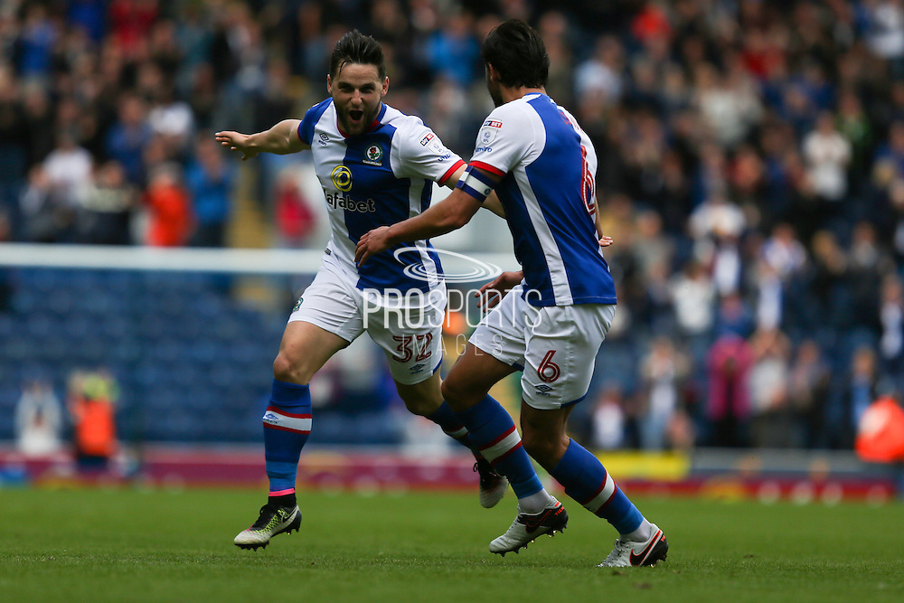 Craig Conway of Blackburn Rovers celebrates with Jason Lowe of Blackburn Rovers after scoring the first goal of the game to make it 1-0  during the EFL Sky Bet Championship match between Blackburn Rovers and Burton Albion at Ewood Park, Blackburn, England on 20 August 2016. Photo by Simon Brady.
