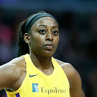 LOS ANGELES, CA - JUN 30: Chiney Ogwumike (13) of the Los Angeles Sparks rests during a game on June 30, 2019 at the Staples Center, in Los Angeles, California.