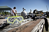 Diving equipment are shown at Freddi Palacios Diving Academy in Tiger Tail Lake, in Dania Beach on April 24, 2012. photo/Cristobal Herrera