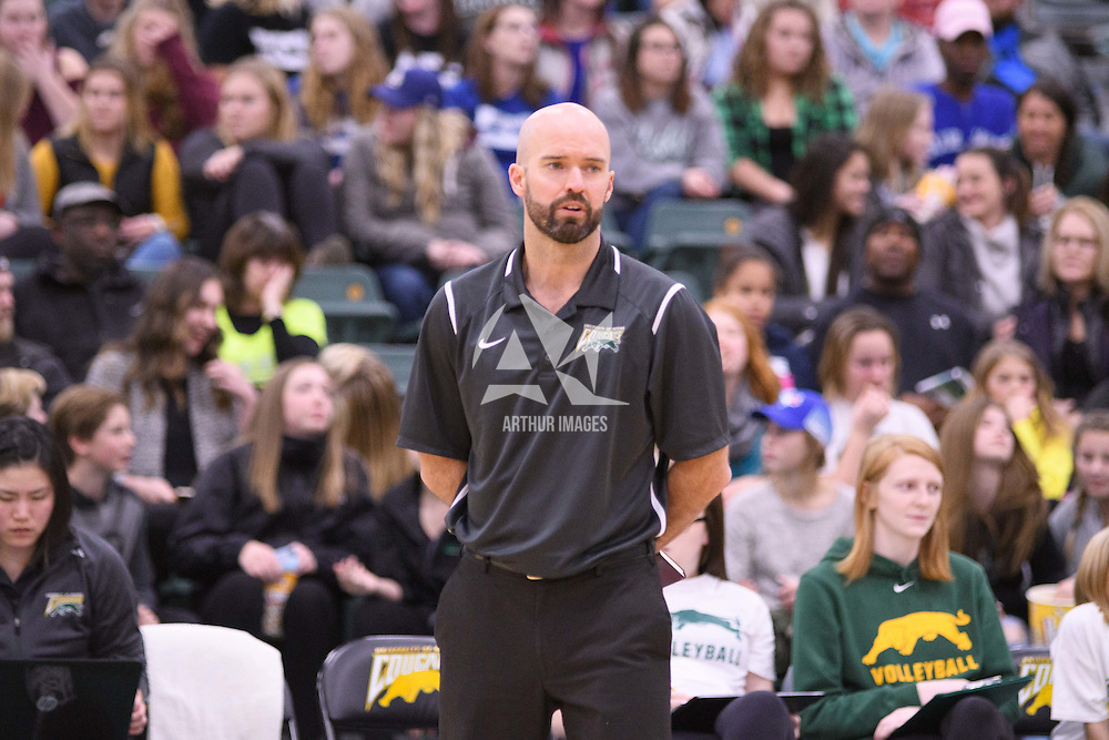 Interim Head Coach Shane Smith (1 season) of the Regina Cougars in action during Women's Volleyball home game on November 18 at Centre for Kinesiology, Health and Sport. Credit: /Arthur Images